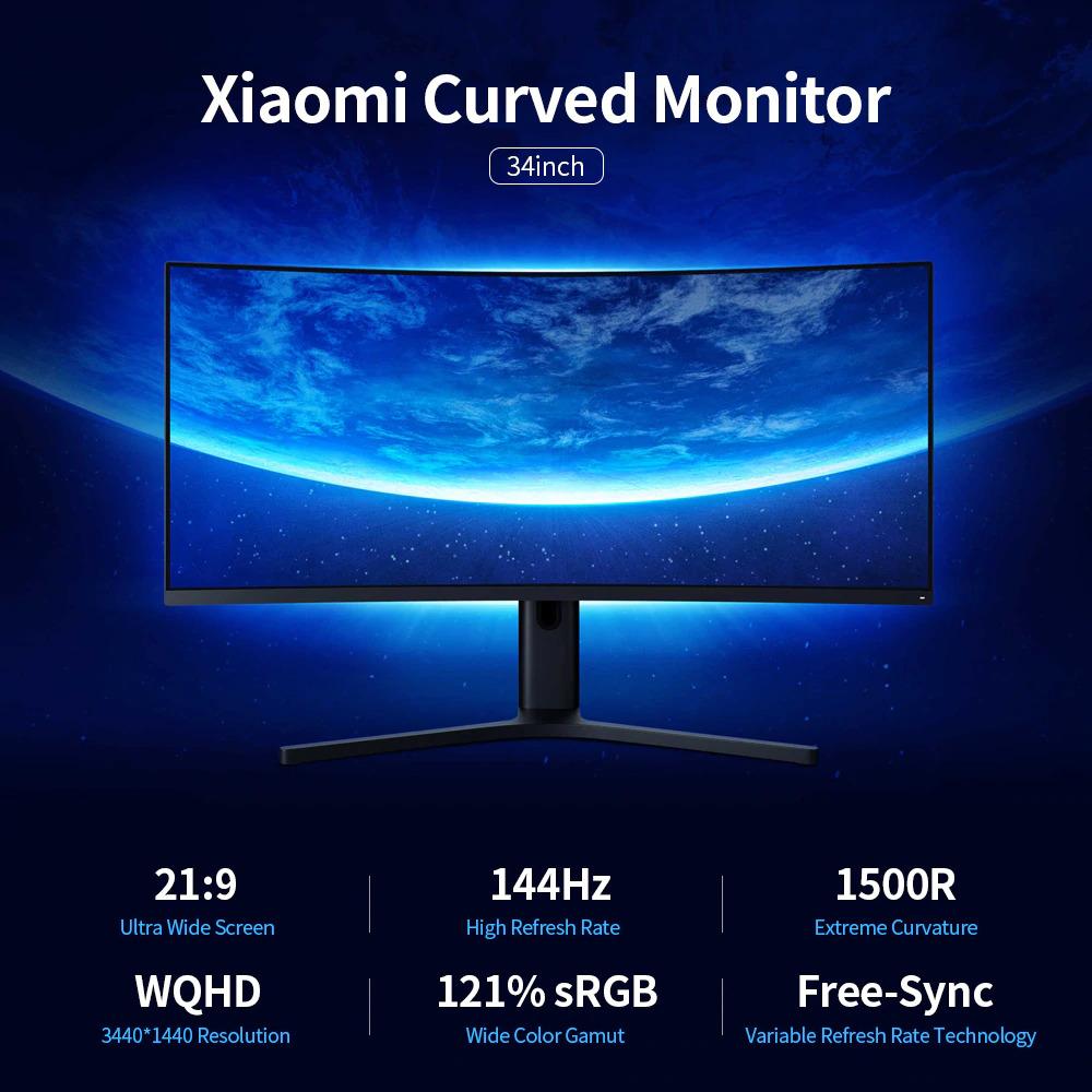 Jual Xiaomi Ultra Wide Curved Gaming Monitor 1440p 144hz Amd Free-sync 34 Inch - Black Murah Mei 2021 | Blibli