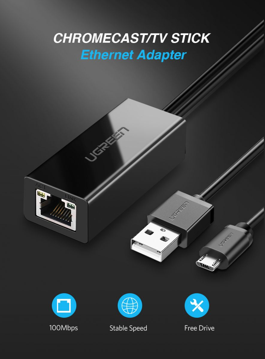 Ugreen Chromecast Ethernet Lan Adapter Usb 2 0 To Rj45