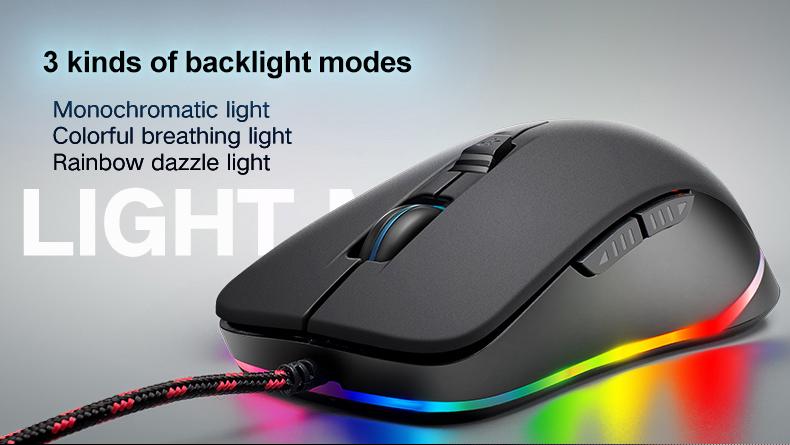 Free Wolf Mouse Gaming USB 2400 DPI dengan LED RGB - V6 - Black