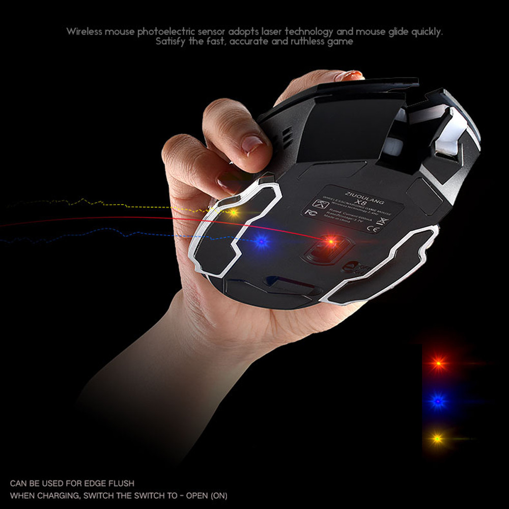 Free Wolf Wireless Gaming Mouse LED Light 1800 DPI - X8 - Black