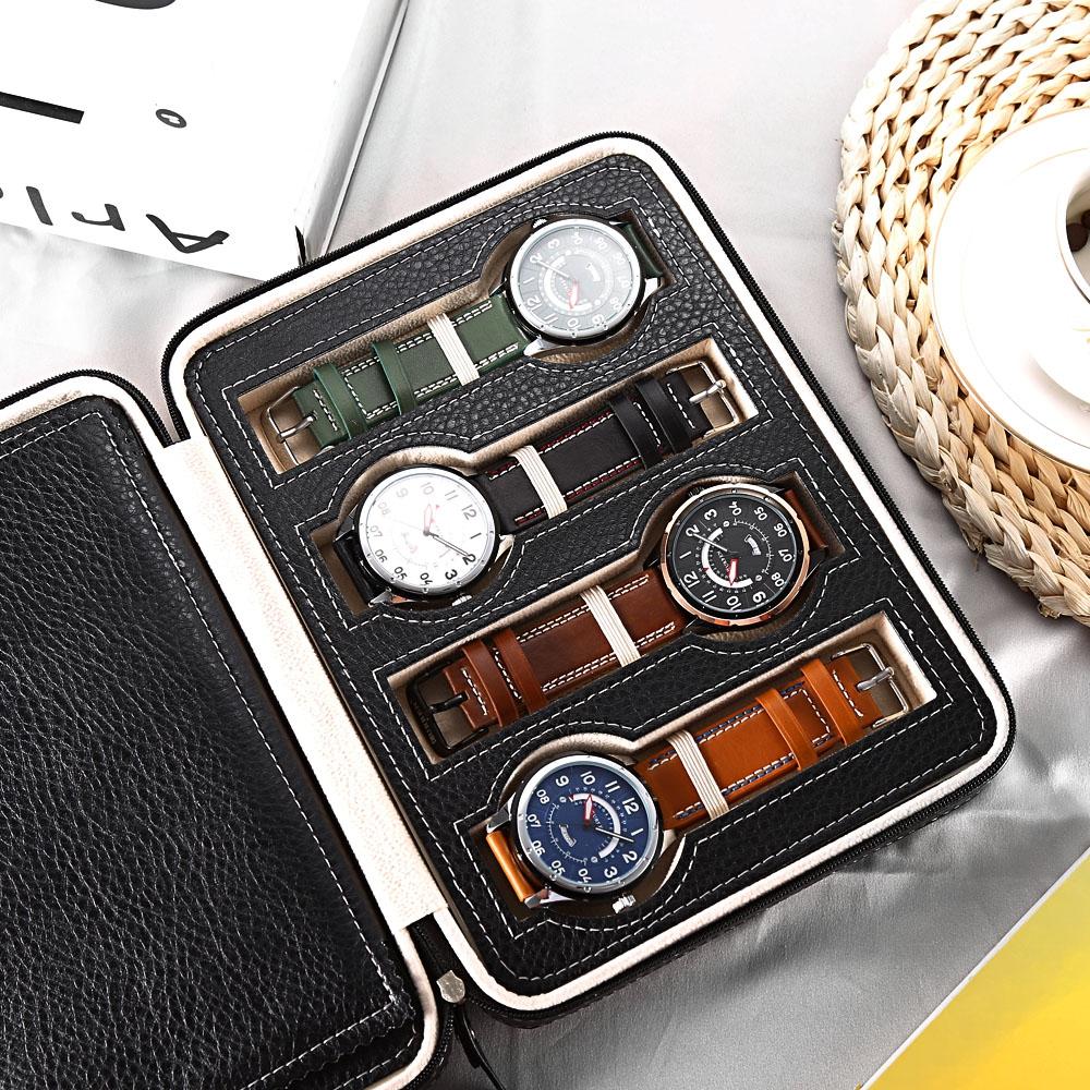 Kotak Jam Tangan Display Box Bahan Kulit 8 Grid Black Tissue 6