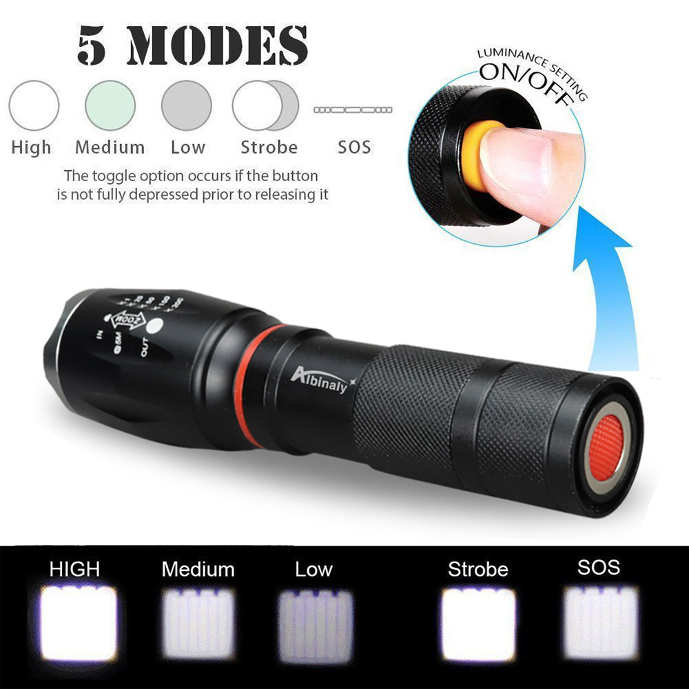 Taffware E17 Cob Senter Led Torch Cree Xm L T6 8000 Lumens Black 2000 Ini Memiliki 5 Mode Yaitu High Medium Low Strobe Dan Sos
