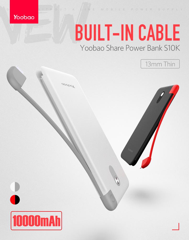 Yoobao Power Bank Built In Micro Usb Cable 10000mah Share1000 Airyrooms Silicone Xiaomi Powerbank Ter Oem Ini Hadir Dengan Desain Dimana Sudah Terdapat Sebuah Kabel Yang Menempel Langsung Pada Tubuh Sehingga Tidak