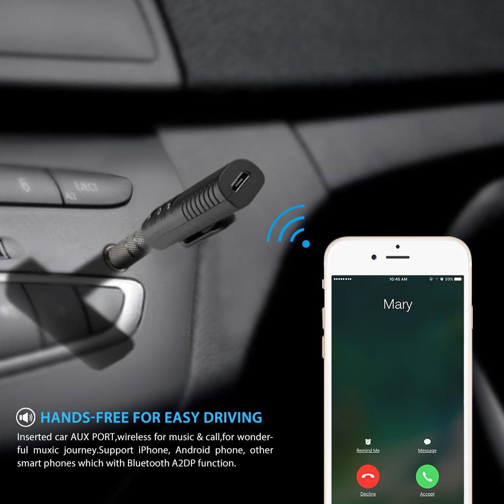 ... EASYIDEA Wireless Bluetooth Audio Receiver Adapter 3.5mm - YJ-02 - Black - 5 ...