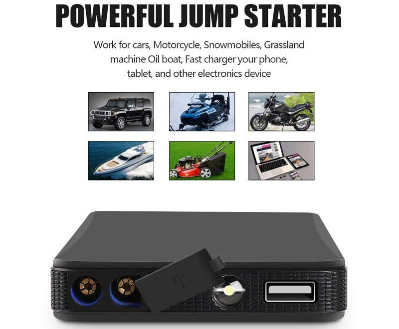 2 in 1 Wireless Charger Transmitter Power Bank /& Auto Car Jump Starter 6000mAH