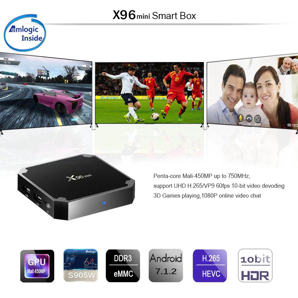 X96 Mini Smart TV Box 4K Android 7 1 DDR3 2GB 16GB - Black