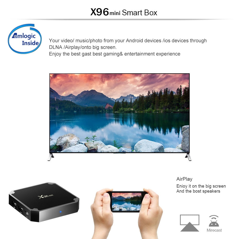 X96 Mini Smart TV Box 4K Android 7 1 DDR3 2GB 16GB - Black